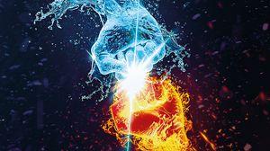 Превью обои пламя, вода, руки, противостояние, битва, искры, брызги, арт
