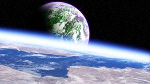 Превью обои планета, атмосфера, поверхность, космос, открытый космос