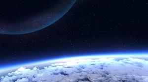 Превью обои планета, атмосфера, свечение, космос, звезды