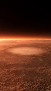 Превью обои планета, кратеры, космос, свет