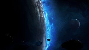 Превью обои планета, метеорит, астероид, космос