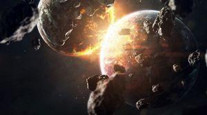 Превью обои планета, метеорит, камни, свечение