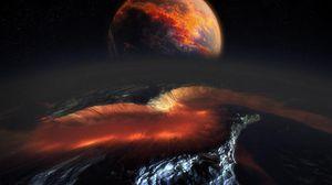 Превью обои планета, метеорит, космос