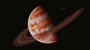 Превью обои планета, орбита, космос, черный