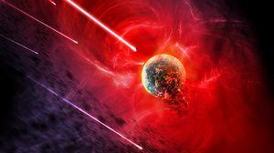 Превью обои планета, открытый космос, яркий, астероиды