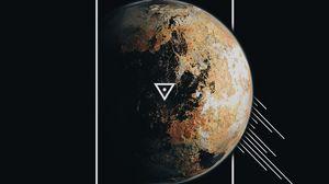 Превью обои планета, рамка, линии, треугольник, геометрия