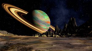 Превью обои планета, сатурн, космос, кольцо, пространство