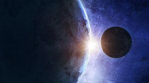 Превью обои планета, спутник, космос, вселенная, галактика, планеты