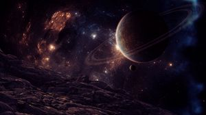 Превью обои планета, спутник, космос, звезды
