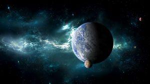 Превью обои планета, спутник, космос, туманность