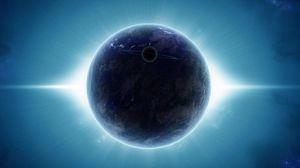 Превью обои планета, спутник, лучи, свет, сияние