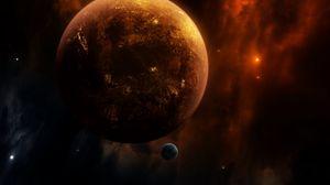 Превью обои планета, спутник, открытый космос, космос, вселенная, галактика
