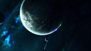 Превью обои планета, спутник, открытый космос, космос, вселенная, галактика, звезды