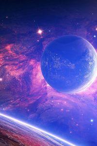 Превью обои планета, свет, пятна, космос