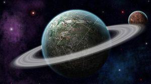 Превью обои планета, вселенная, орбита, космос, звезды