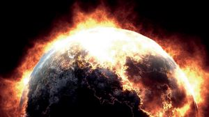 Превью обои планета, взрыв, излучение, крупный план