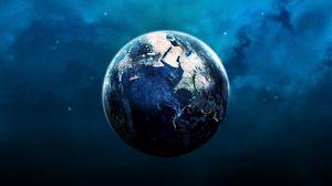 Превью обои планета, земля, орбита, голубой