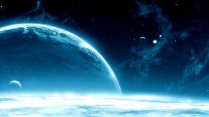 Превью обои планеты, космос, открытый космос, звезды, галактика, блеск
