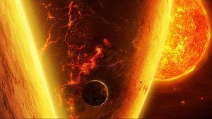 Превью обои планеты, космос, солнце, излучение