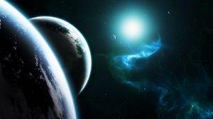 Превью обои планеты, космос, звезды, излучение, свет