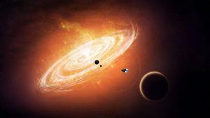 Превью обои планеты, шаттл, круги, воронка, свет
