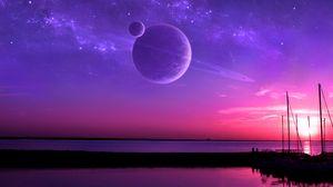 Превью обои планеты, спутник, горизонт, море, арт