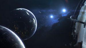 Превью обои планеты, спутник, орбита