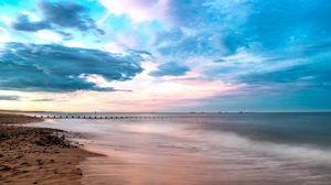 Превью обои пляж, берег, море, вода, горизонт, пейзаж