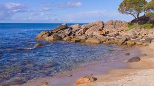 Превью обои пляж, море, камни, пейзаж, природа