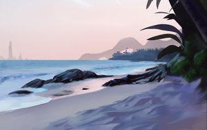 Превью обои пляж, пальмы, море, тропики, арт