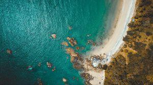Превью обои пляж, побережье, вид сверху, море, скалы