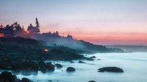 Превью обои пляж, туман, берег, закат, кемпинг, пейзаж, камни