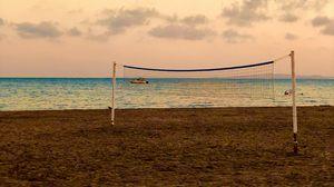 Превью обои пляж, волейбол, волейбольная сетка, море, горизонт