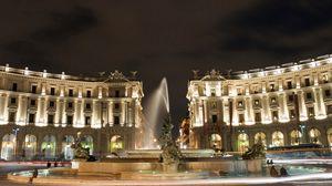 Превью обои площадь святого петра, ватикан, рим, италия, резиденция папы римского, вечер, здания, архитектура, фонтан