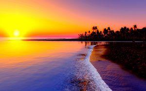 Превью обои пляж, тропики, море, песок, пальмы, закат