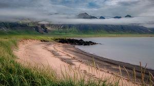 Превью обои побережье, горы, озеро, пейзаж, природа