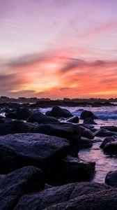 Превью обои побережье, камни, море, вода, закат, пейзаж