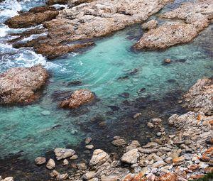 Превью обои побережье, камни, море, вода, природа