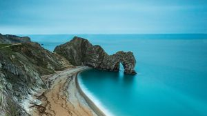 Превью обои побережье, пляж, скала, море, песок