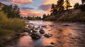 Превью обои побережье, река, камни, закат, природа, пейзаж