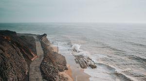 Превью обои побережье, вид сверху, море, дорога, обрыв
