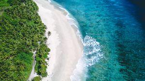 Превью обои побережье, вид сверху, море, песок, пляж