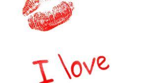 Превью обои поцелуй, губы, надпись, любовь, признание