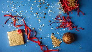 Превью обои подарок, коробка, украшения, кофейные зерна