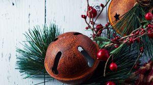 Превью обои подарок, ветки, украшения, новый год, рождество