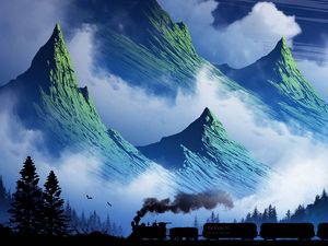 Превью обои поезд, горы, арт, туман, дым