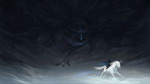 Превью обои погоня, единорог, охота, ястреб, существа