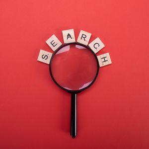 Превью обои поиск, слово, кубики, лупа, красный