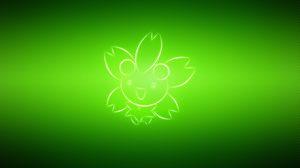 Превью обои покемон, cherrim, зеленый