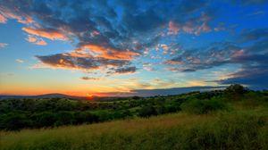 Превью обои поле, холмы, трава, закат